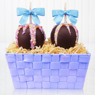 Easter caramel apples gourmet easter gifts spring candy apples blue and purple caramel apple gift basket negle Gallery