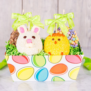 Spring gift baskets easter gift baskets amys gourmet apples quick view easter egg caramel apple gift tray negle Image collections
