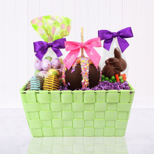 Spring gift baskets easter gift baskets amys gourmet apples quick view green purple easter gift basket negle Choice Image